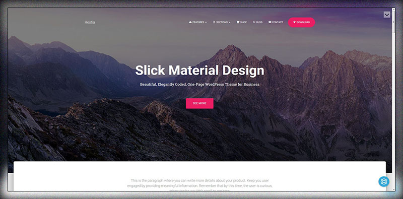 Hestia - Free Material Design WordPress Theme